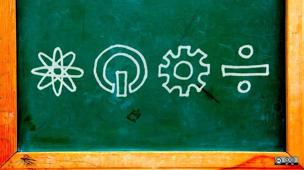 """""""What is the future of STEM education in the U.S."""", imagem elaborada por  por Colleen Simon para opensource.com . Disponibilizada e distribuída por licença de direitos autorais CC BY-SA 2.0 via Flickr"""